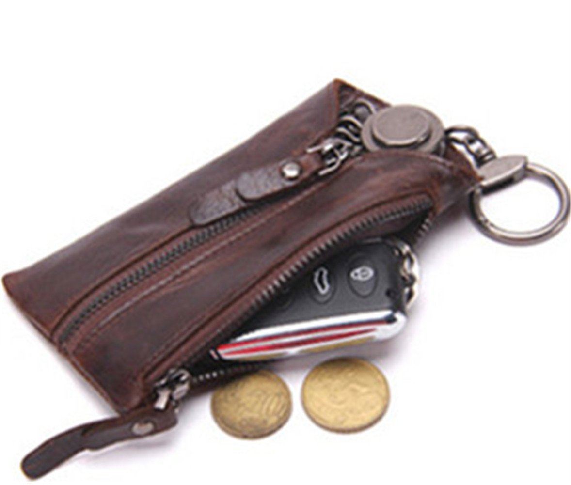 Genuine Leather Car Key Case Chain Holder Dual-use Zipper Key Bag Wallet Dark Brown by Contact