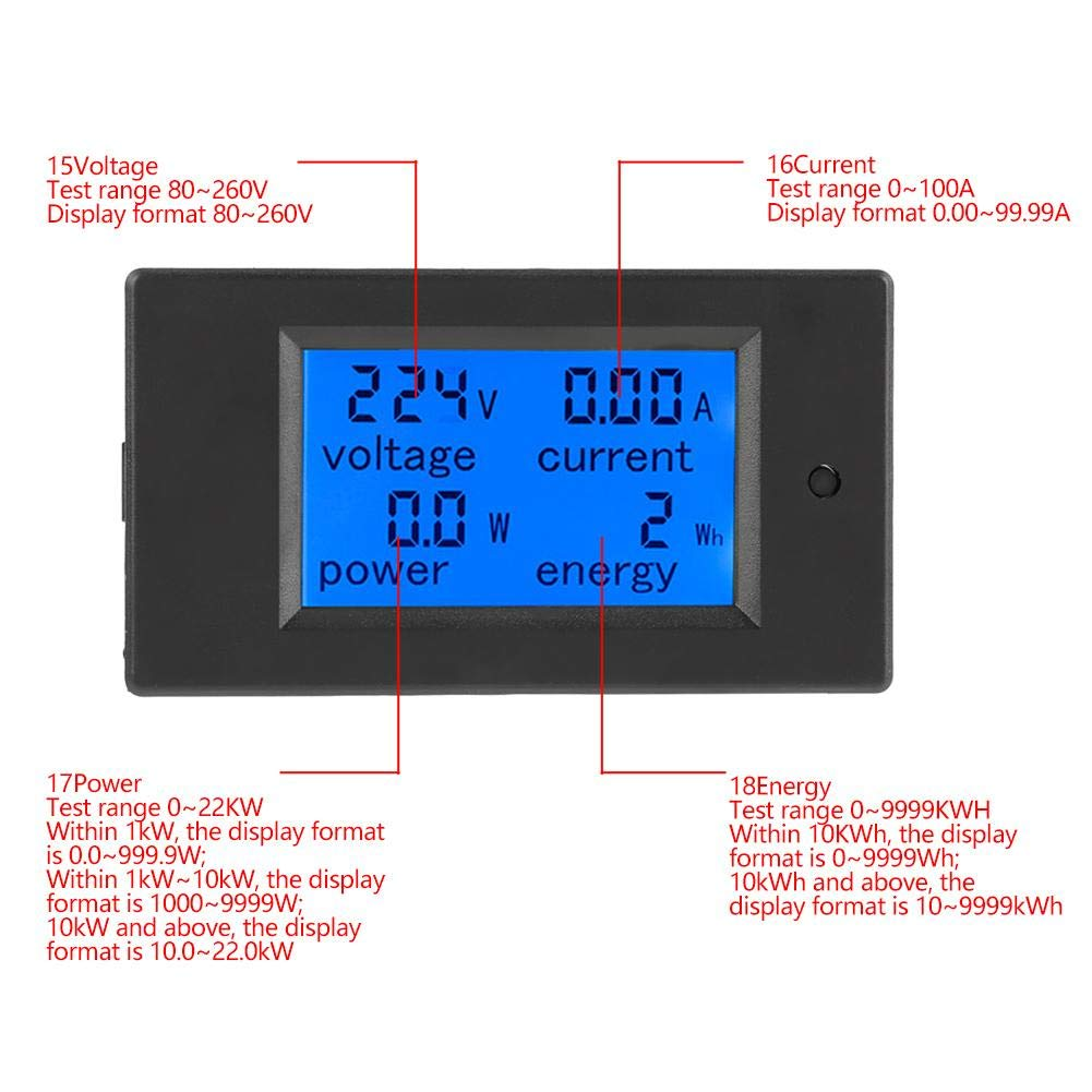 Transformateur de courant CT 100A AC 80-260V 100A LCD Tension Courant Alimentation M/ètre d/énergie Voltm/ètre Amp/èrem/ètre Voltm/ètre AC