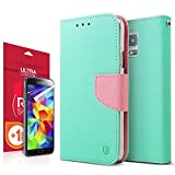 [REDShield] Mint / Baby Pink Samsung Galaxy S5 Wallet Case; Best Design with Coolest Premium [PU/Faux Leather]... by RED SHIELD