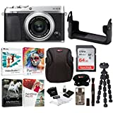 Fujifilm X-E3 Mirrorless Digital Camera w/XF23mm f/2 R WR Lens (Silver) w/BLC Leather Case, 64GB Memory Card & Editing Software Bundle