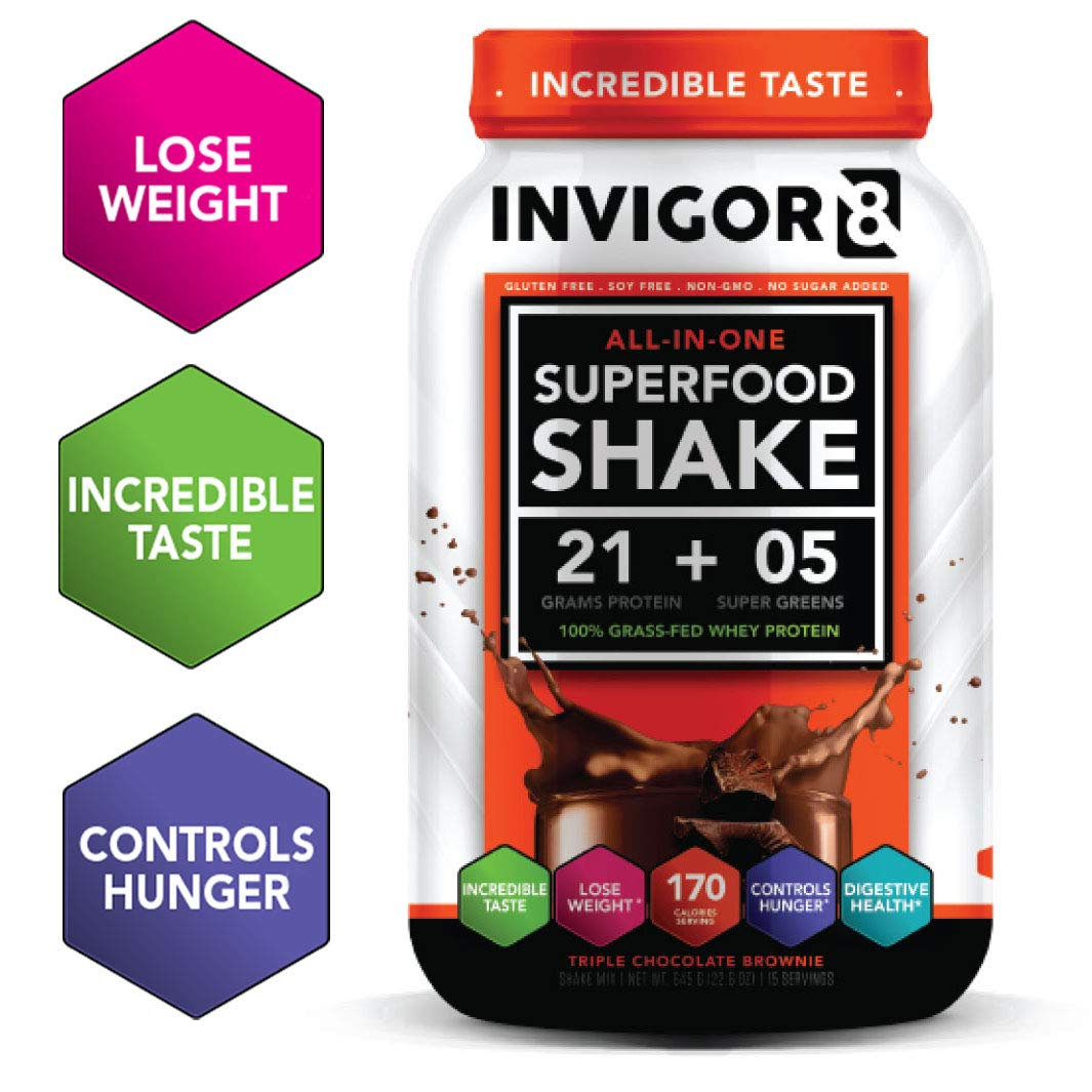 INVIGOR8 Superfood Shake Gluten-Free and Non GMO Meal Replacement Grass-Fed Whey Protein Shake with Probiotics and Omega 3 (645g) ... (Chocolate Brownie) by INVIGOR8