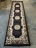 Kingdom Traditional Runner Persian Area Rug Chocolate Brown Design D123 (2 Feet X 7 Feet,)