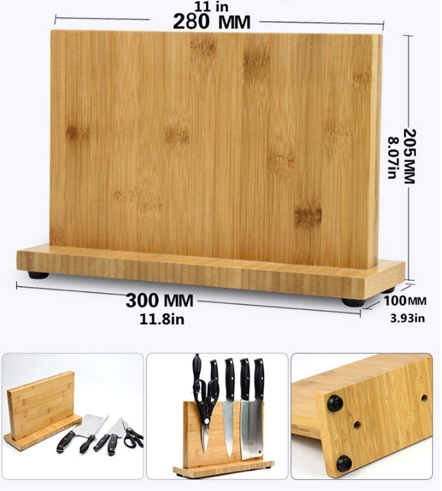 Magnetic Kitchen Knife Block(Natural Bamboo),Knife Holder,Knife Organizer Block,Knife Dock,Cutlery Display Stand and Storage Rack,Kitchen Scissor Holder,Large Capacity,Double Side Strongly Magnetic by ADM-LC (Image #8)