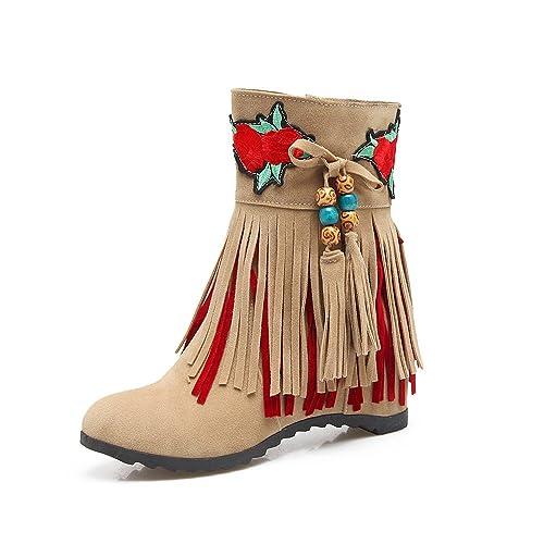 Botines Cortos con Flecos y Punta Redonda Estilo étnico de Mujer: Amazon.es: Zapatos y complementos