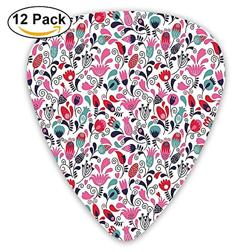 Newfood Ss Floral Background With Linked Swirling Tulip And Branches Fresh Ornate Art Guitar Picks 12/Pack -