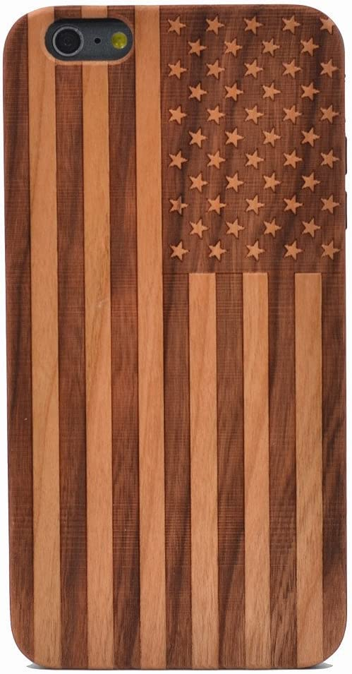 iPhone 6 Plus Case/iPhone 6S Plus Case, American Flag US Pattern Handmade Carving Real Wooden Wood Case with TPU Case for Apple iPhone 6 Plus, iPhone 6S Plus (Only for 5.5'')