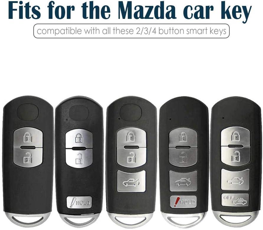 Lcyam Tpu Key Fob Case Cover Glossy with Carbon Fiber Pattern Fits for CX-5 CX-3 CX-4 MX5 CX7 CX9 Mazda 2 3 5 6 8 Push Button Start Keyless Smart Key Green