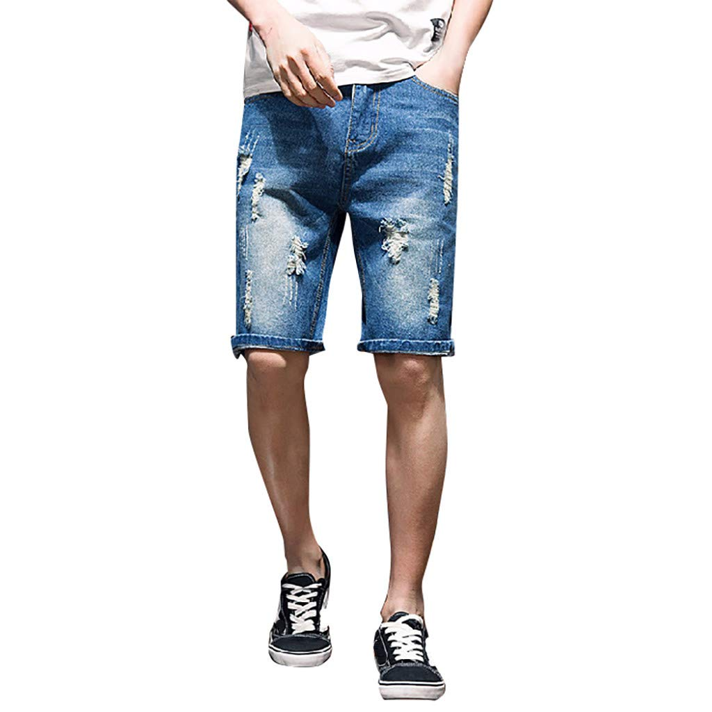 Allywit Mens Casual Denim Ripped Mid Waist Distressed Jeans Shorts Hole Cut-Off Short with Pockets