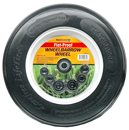 Maxpower 335278 Flat Proof Universal Wheelbarrow Wheel with Spacing Washers for Various Hub Configurations by Maxpower