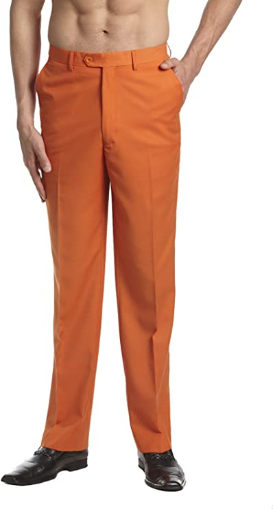 Men's Vintage Pants, Trousers, Jeans, Overalls CONCITOR Mens Dress Pants Trousers Flat Front Slacks Solid ORANGE Color $36.70 AT vintagedancer.com