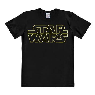 9d8446512 ... de Las Galaxias - Logotipo - Camiseta Star Wars - Logo - Camiseta con  Cuello Redondo Negro - Diseño Original con Licencia  Amazon.es  Ropa y  accesorios