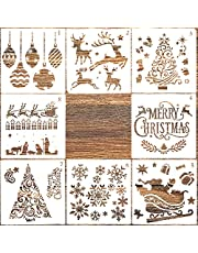 AIEX 8Pcs Christmas Stencils Template Plastic Craft Stencils for Painting Wood, Spraying Door Window, Journal Scrapbook Cards Making, DIY Xmas Decoration (5 x 5inch)