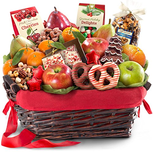 Golden State Fruit Holiday Chocolate Nuts & Fresh Fruit Gift Basket