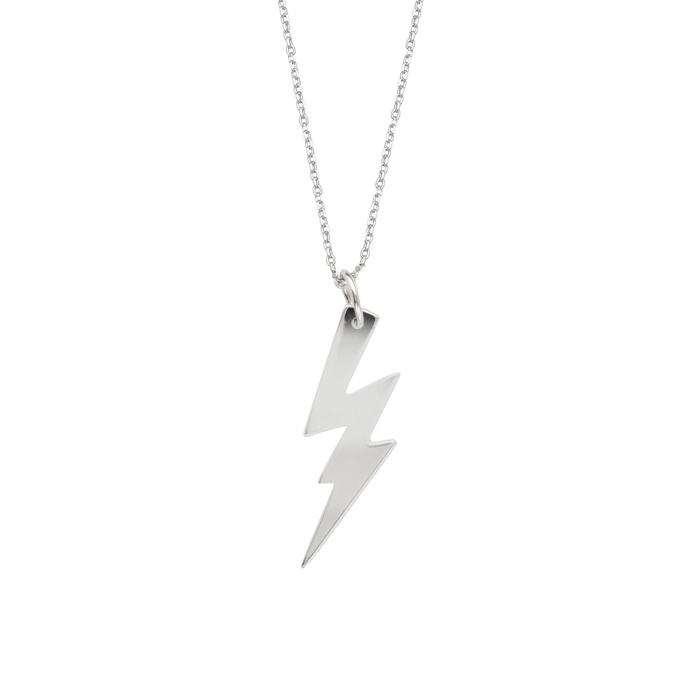 Excl.Adj E2W Lightning Bolt Neck-Dc 030 DiamondJewelryNY Silver Pendant