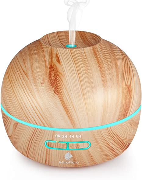 Essential Oil Diffuser Electric Aromatherapy Wood Grain Diffuser 300ML,Two Mist Mode, Ultrasonic Humidifier Cool Mist Diffusers, 4 Timer Settings,7