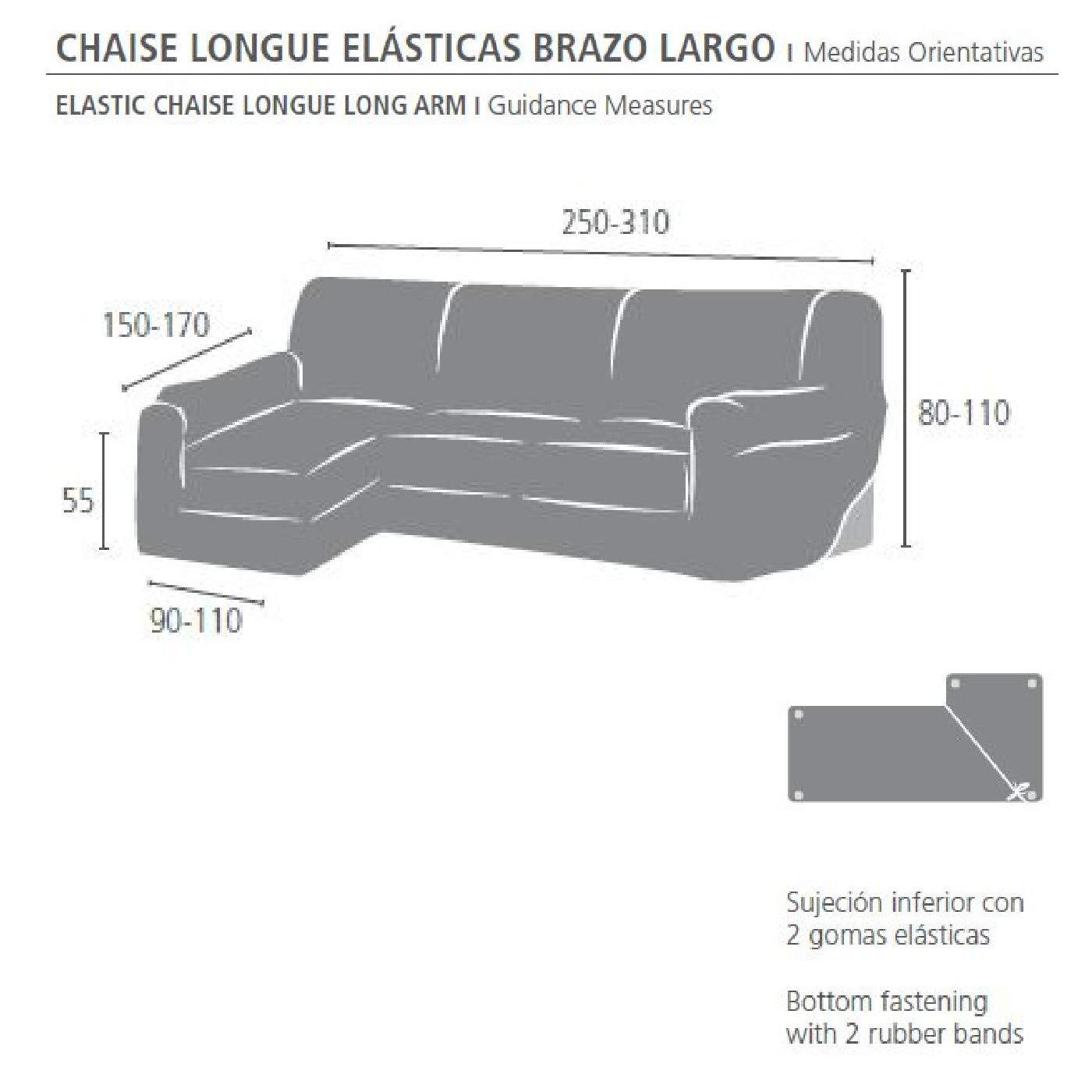 Innovaciones Roser Funda Chaise Longue Brazo Largo Elástica Modelo Rosario, Color Crudo, Medida Brazo Izquierdo – 250-310cm (Mirándolo de Frente)