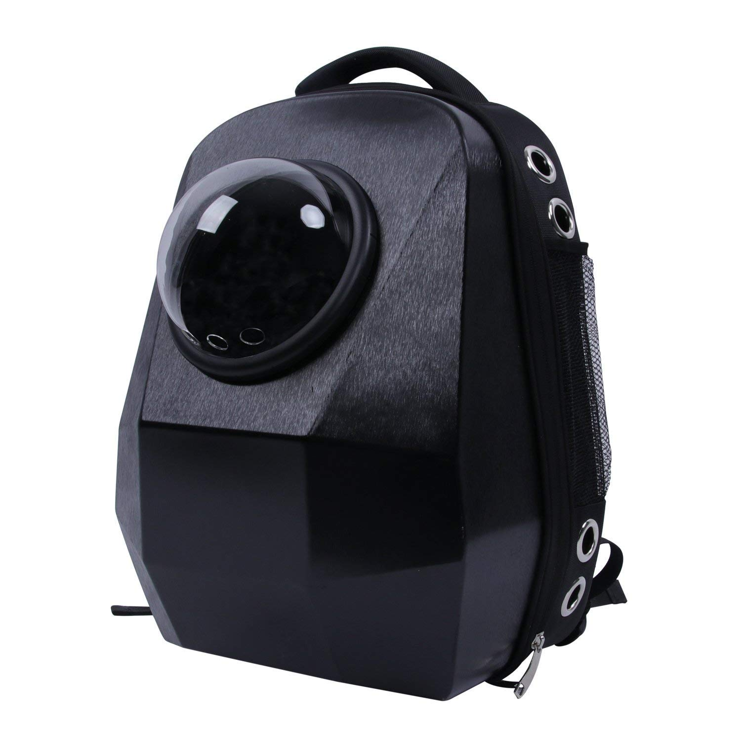 GXFLO Pet Diamond Space Capsule Portable Backpack Porous Waterproof Pet Backpack Bubble Dome Traveler Knapsack Lightweight Bag for Cats Petite Dogs & Small Animals,Black