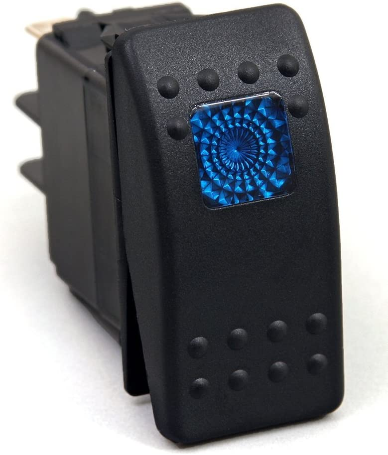 Amarine Made 12v 20 Amp Waterproof Blue LED On/Off Boat Marine SPST 3P Rocker Switch with Light : Sports & Outdoors
