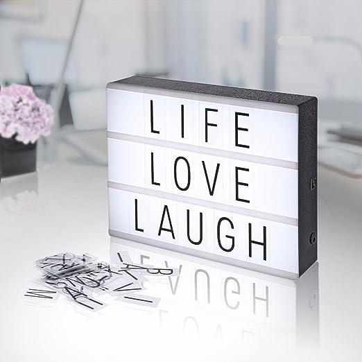 LGZOOT La Mesa De Luz LED con 180 Letras Negras Y Símbolos ...