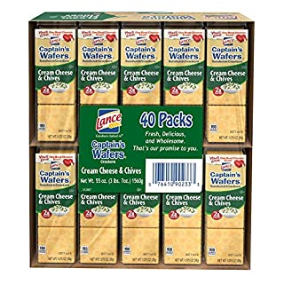 Lance Captain's Wafers Cream Cheese and Chives 40 pk. A1, 4 Pack