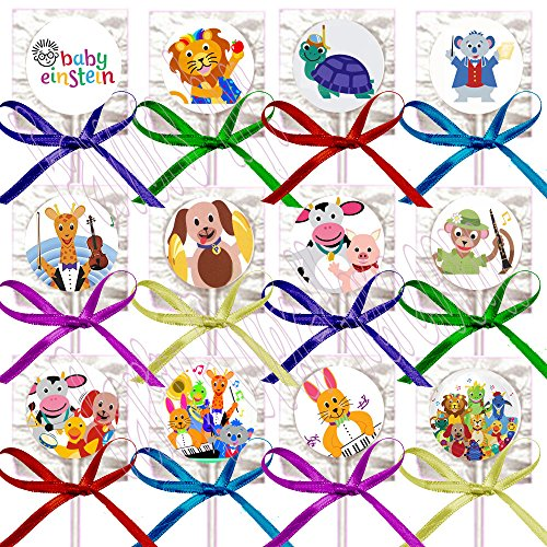 Baby Einstein Party Favors Supplies Decorations Lollipops with Rainbow Assorted Colors Ribbon Bows Party Favors -12 pcs