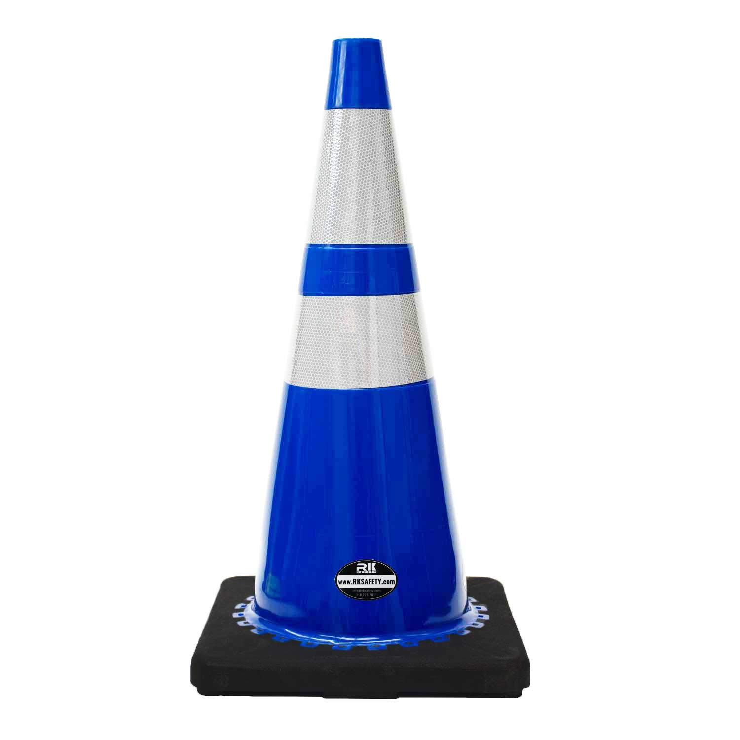 (Set of 8) 28'' RK Blue Safety Traffic PVC Cones, Black Base with Two Reflective Collar by RK Safety