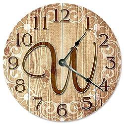 Large 10.5 Wall Clock Decorative Round Wall Clock Home Decor Novelty W FAMILY NAME MONOGRAM CLOCK