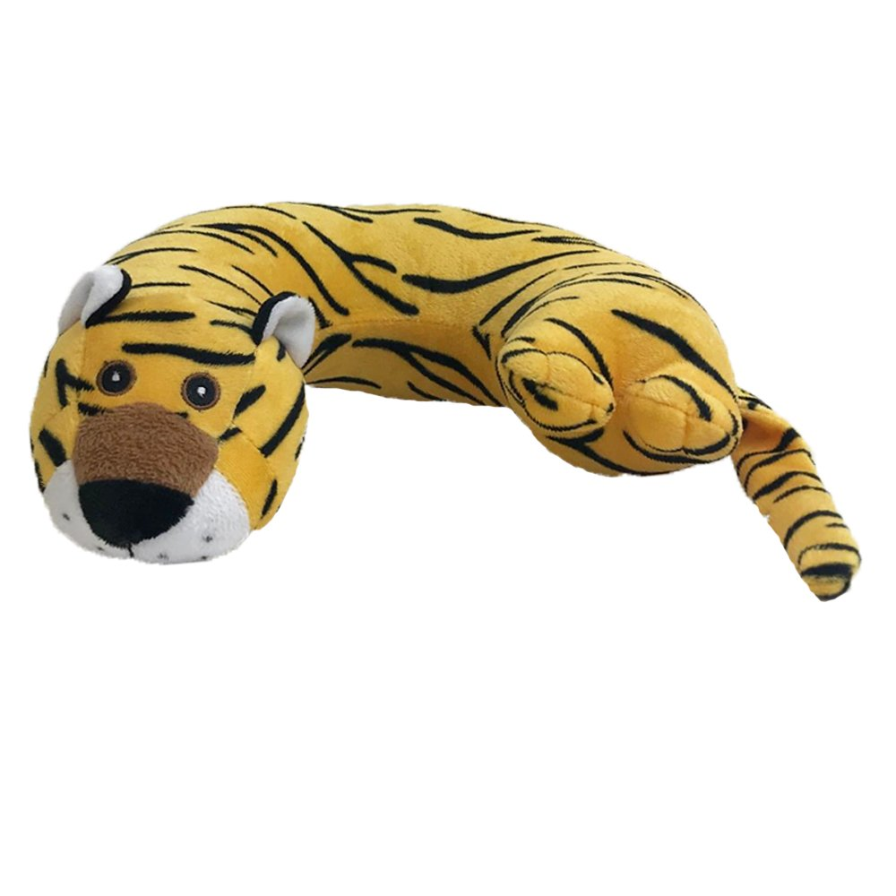 Critter Piller Kid's Travel Buddy and Comfort Pillow, Yellow Tiger, Hypoallergenic, Machine Washable, Recycled Filling 2209