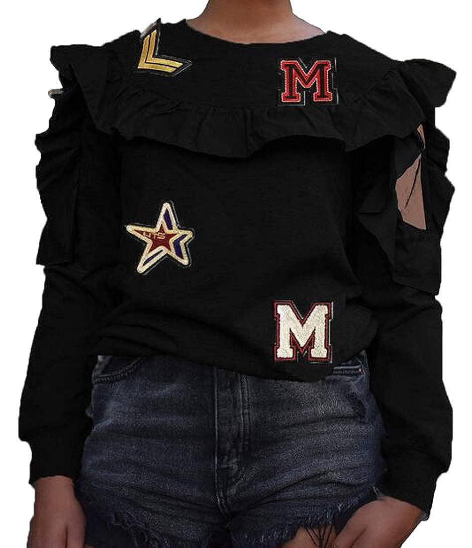 Fubotevic Womens Long Sleeve Ruffle Fashion Cold Shoulder Pullover Sweatshirts