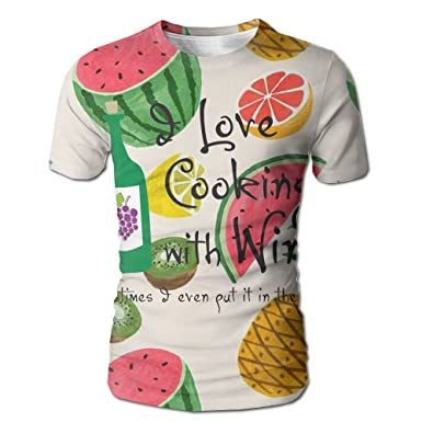 c817cd4d Amazon.com: Bnm I Love Cooking With Wine Crewneck Printing Short-Sleeved T  Shirts For Men: Clothing