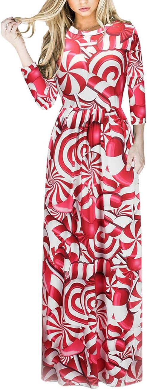 TALLA XXL=ES 48-50. FeelinGirl Mujeres Vestido Largo Estampado Floral de Fiesta Navidad Falda Maxi de Manga Larga Nochebuena Rojo-54 XXL=ES 48-50