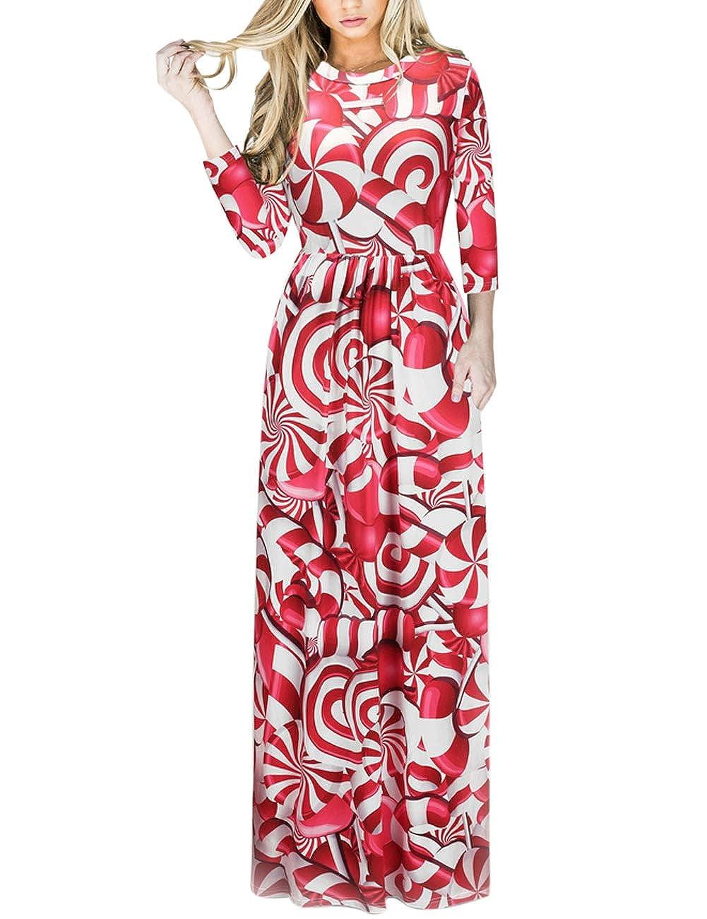 TALLA XL=ES 46-48. FeelinGirl Mujeres Vestido Largo Estampado Floral de Fiesta Navidad Falda Maxi de Manga Larga Nochebuena Rojo-54 XL=ES 46-48