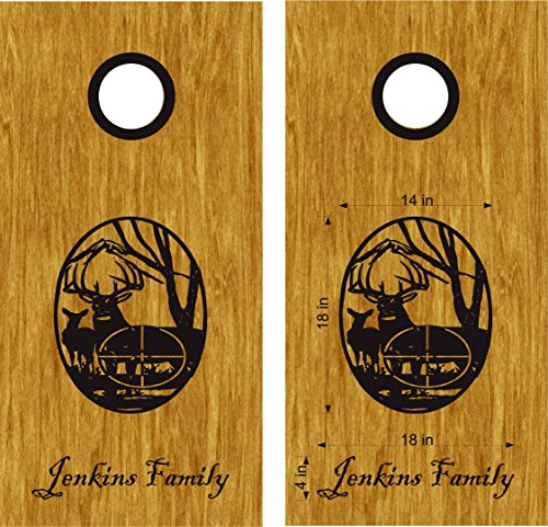 Deer Hunting Cornhole Board Decals Stickers - Bean Bag Toss - Vinyl Stickers - Comes With Rings - Bean Baggo - Priority Tracking Mail Us