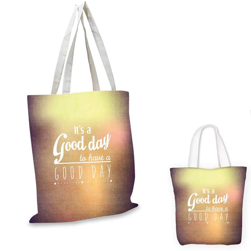 12x15-10 Motivational canvas messenger bag Good Day Quote with Encouragement Theme Typography Design shopping bag for women Pale Yellow Pale Orange White