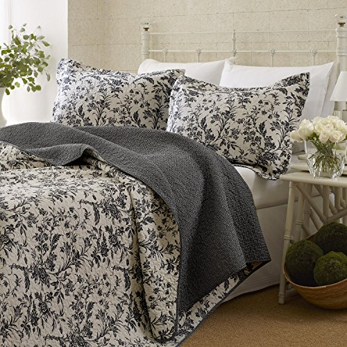 Laura Ashley Amberley Quilt Set, King (Black) (King Size Black And White Bedding Set)