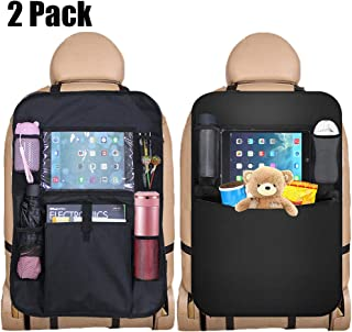 KIPIDA Car Seat Organiser, 2 Pack Kick Mats Car Organisers Back Seat Protector with iPad Tablet Holder Car Seat Back Organizer Multi Pockets for Kids Children's Travel Storage