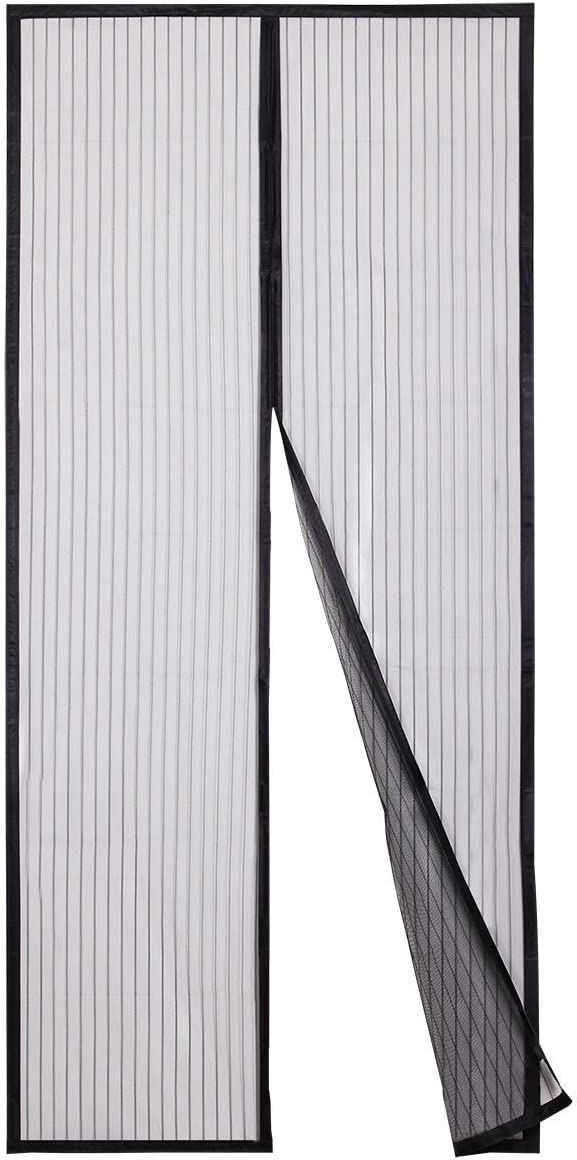 Sekey Cortina Magnética de Puerta a Prueba de Mosquito para Puertas de Madera, Puertas de Hierro, Puertas Metálicas, Puertas del Balcón, Puertas de RV, Cierre Magnético Automático, 210X 90cm, Negro