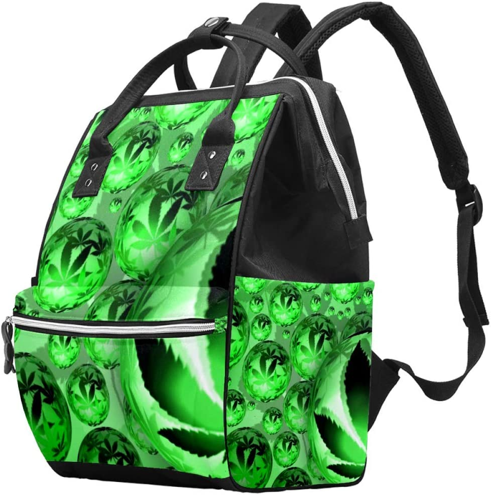 Bennigiry Weed Snookie Orbe Cannabis Bolsa de pañales Mochila de gran capacidad para viaje, bolsa organizadora de pañales multifunción, bolsas de bebé para mamá