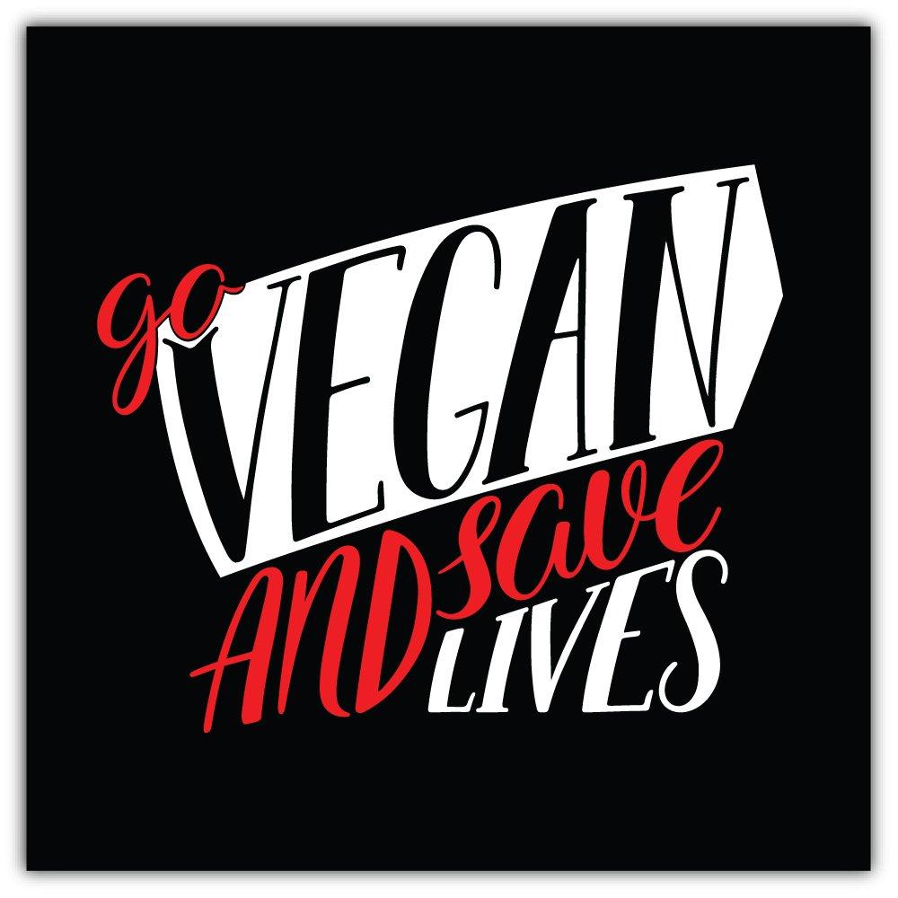 Go Vegan And Save Lives Slogan Bumper Sticker Vinyl Art Decal Vinile Adesivo for Car Truck Van Window Bike Laptop SkyBug