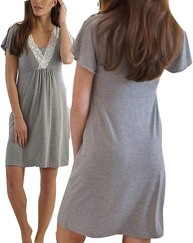 Camisa De Lactancia Calzado De Noche Calzado Vintage Damas Pijamas Amamantar Pijama De Camisón Vestido De Maternidad De Manga Corta Cuello En V Noche Sche Cálido: Amazon.es: Ropa y accesorios