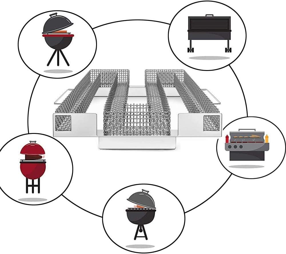 Cold Smoke Generator,Meat Smoker f/ür Kugelgrill,Kaltrauch Kaltraucherzeuger,Kaltrauchgenerator Gro/ß,Edelstahl zum Kaltr/äuchern,Grill R/äucherofen,Food Smoker