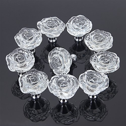 PUQU 10 Pcs Diameter 50mm Clear Crystal Glass Cabinet Door Knobs Handles Pulls Cupboard Handles Drawer Wardrobe Hardware Furniture Decoration -