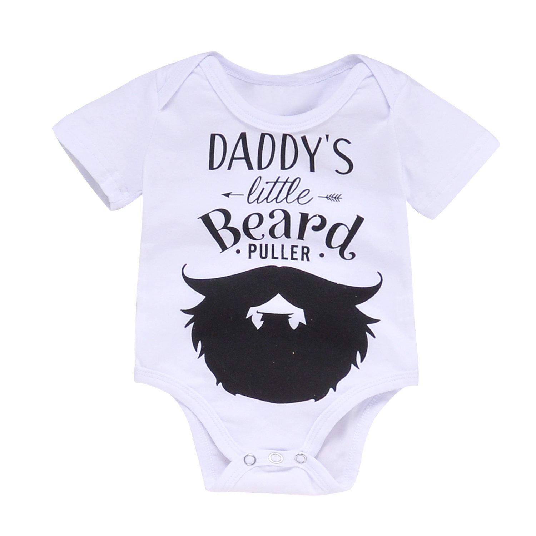 AMXDRES Unisex Baby Letter Print Funny Bodysuits - Daddy's Little Beard Puller