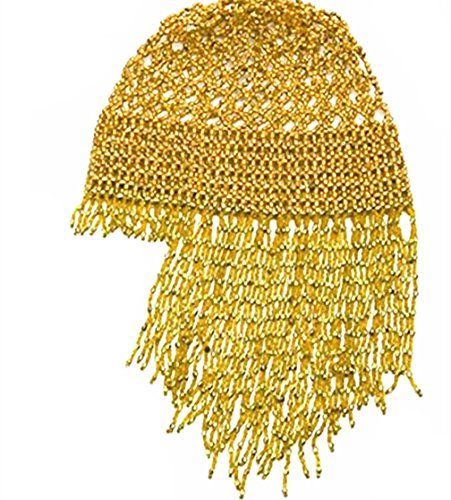 2019 Women's DJ/Pub Sparkling Hat Exotic Cleopatra Belly Dance Beaded Cap Headpiece Accessory (Gold)]()