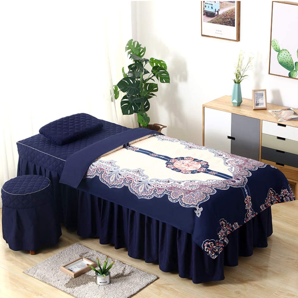 XGXQBS Juego de sábanas de Mesa de Masaje de Belleza, Masaje Corporal y Terapia, Juego de 4 Piezas de Falda de Cama de Lino con Cabeza Cuadrada, Azul, 190x80cm(75x31inch): Amazon.es: Hogar