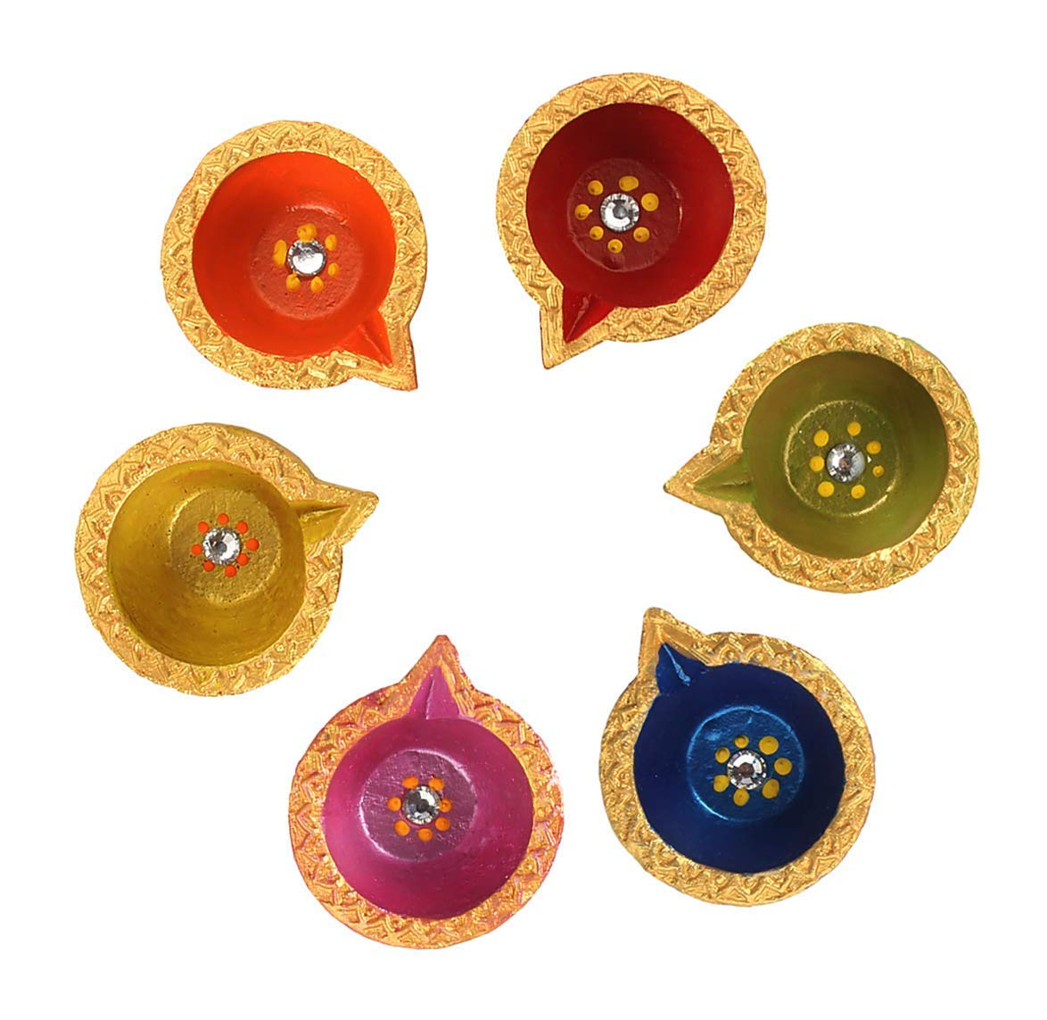 Store Indya, Handmade Earthen Clay Terracotta Decorative Diwali Diyas Oil Lamps with Rhinestone (Jewel for Pooja) - Puja Set of 6 (Multicolor 3)