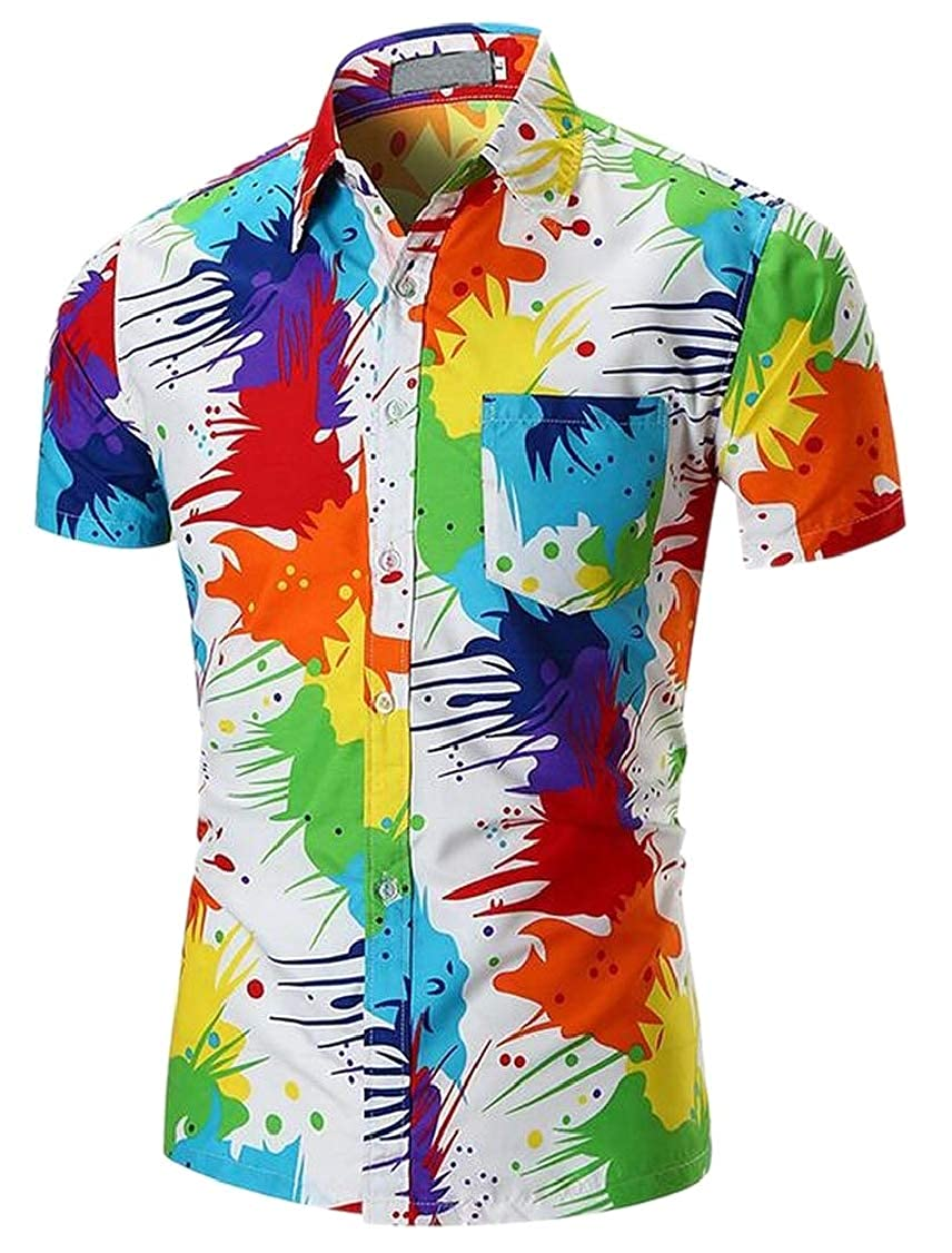 M/&S/&W Men Casaul Short Sleeve Pigment Printed Lapel Button Down Shirt Top Tees