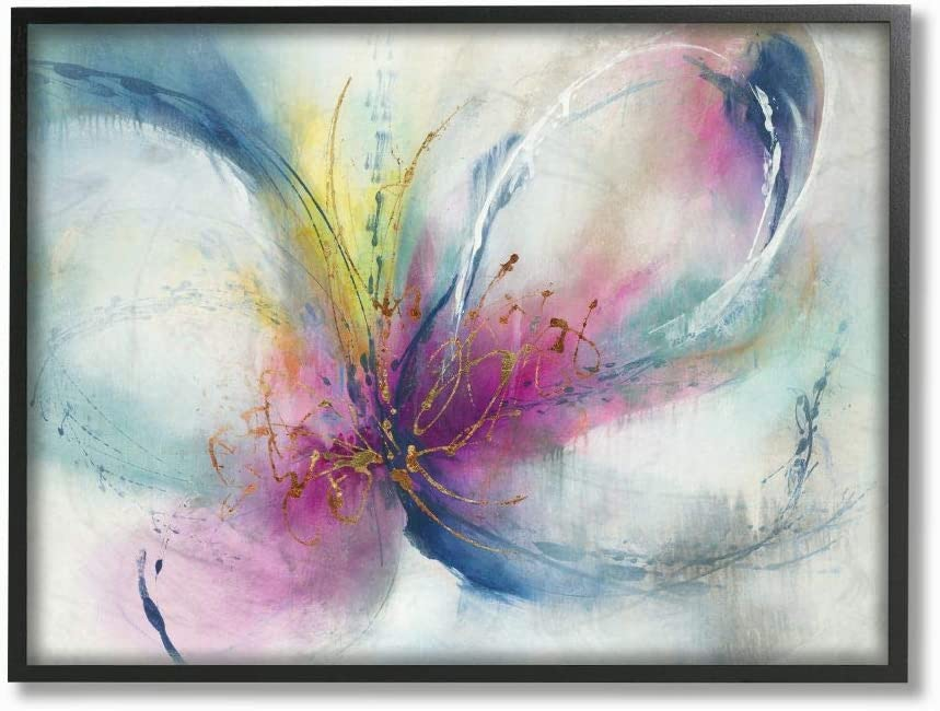Stupell Industries Organic Butterfly Shape Pink Blue Nature Painting, Designed by K. Nari Wall Art, 11 x 14, Black Framed