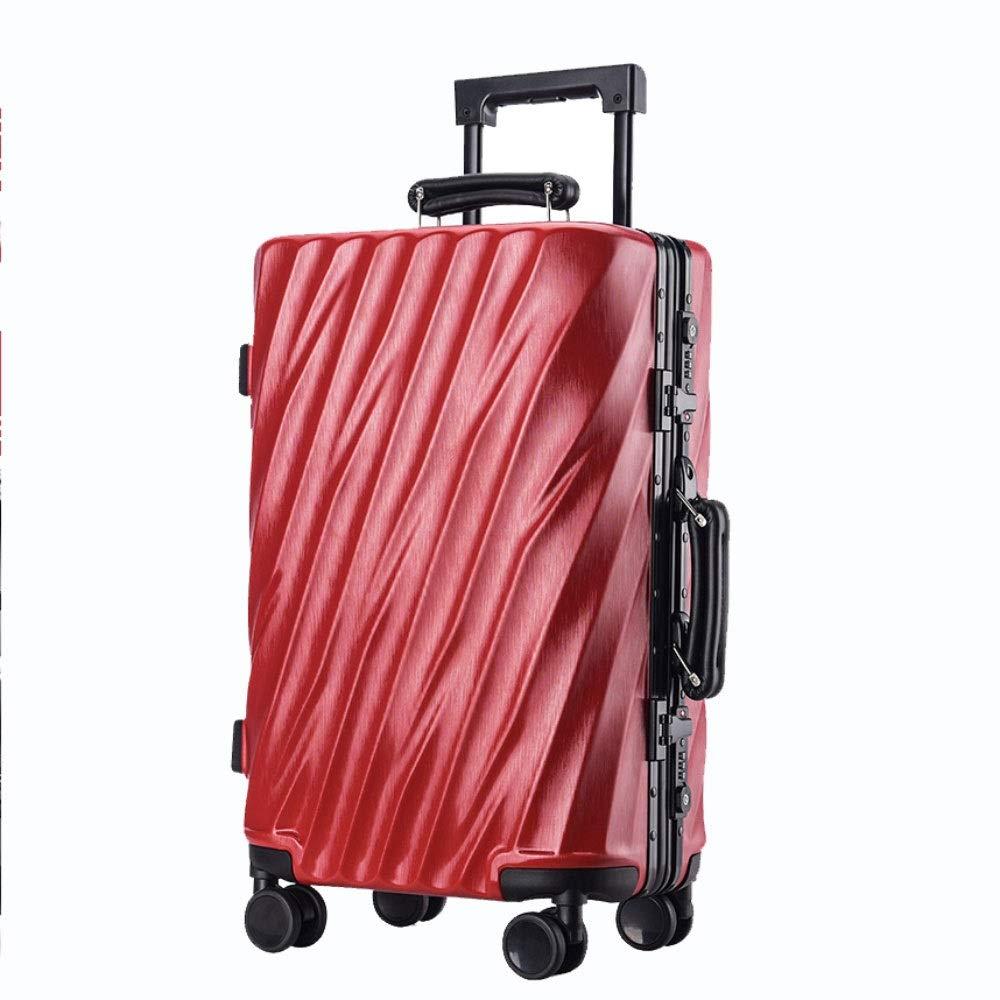 アルミフレームトロリーケースツイルラゲッジユニバーサルホイール搭乗荷物チェックロックボックス(20/24/26/29インチ) (Color : 赤, Size : 26 inch)   B07QWP66ZJ