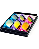Reflective Color Mirror Lens Neon Color Wayfarers Style Sunglasses - With Gift Box